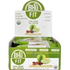 BHU Fit Vegan Organic Pea Protein Bar Apple Chunk Cinnamon Nutmeg -- 12 Bars