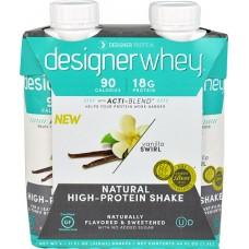 Designer Protein Natural High Protein Shake Vanilla Swirl -- 4 Bottles