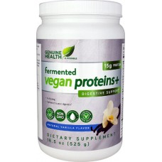 Genuine Health Fermented Vegan Proteins plus Digestive Support Natural Vanilla -- 24 Servings