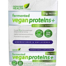 Genuine Health Fermented Vegan Proteins plus Digestive Support Unsweetened Unflavored -- 15 Packets